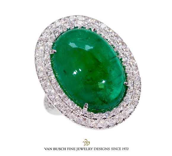 Cabochon-Cut Emerald and Diamond Ring