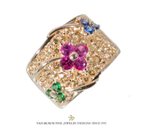 Flower Design Ring with Gemstones
