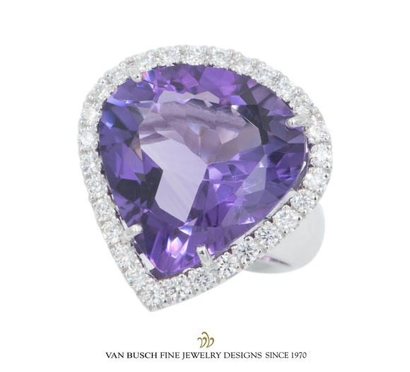 Pear-Shape Amethyst and Diamond Ring