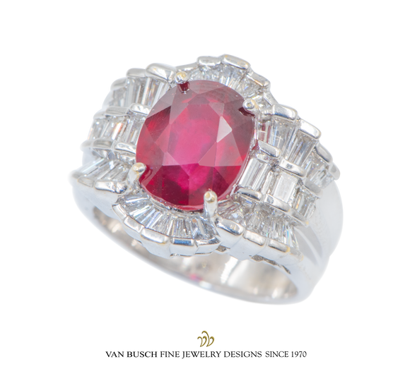Wide Ruby and Diamond Ring