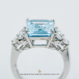 Emerald-Cut Aquamarine and Diamond Ring
