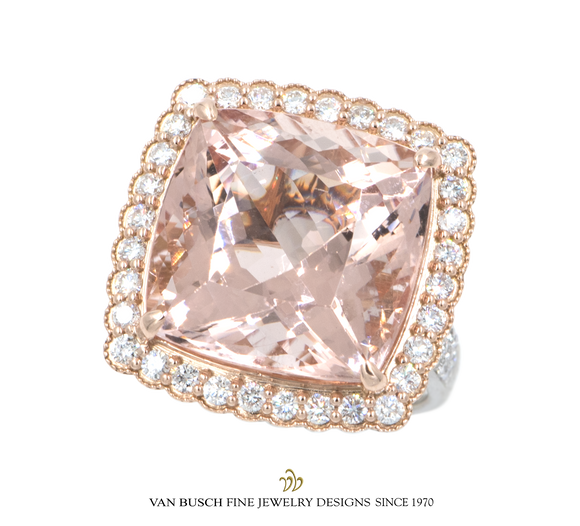 Cushion-Cut Morganite and Diamond Ring