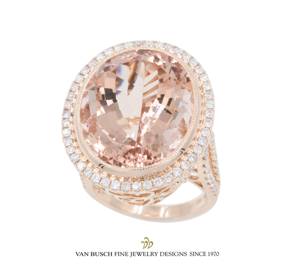 Oval Morganite and Diamond Split-Shank Ring