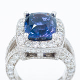 Natural Color Change Sapphire and Diamond Ring