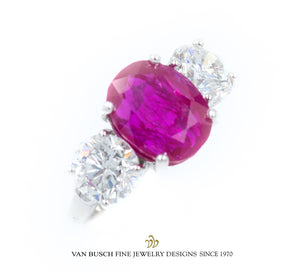 Natural Burmese Ruby and Diamond Ring