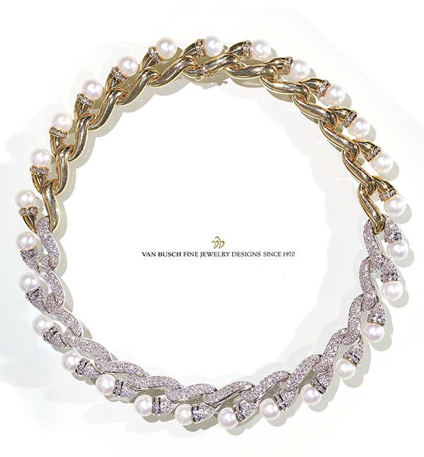 Pearl, Diamond and Gold Necklace