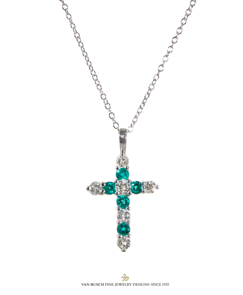 Emerald and Diamond Cross Necklace