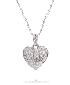 Puffed Diamond Heart Pendant
