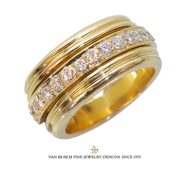 Wide Band with Diamond Center