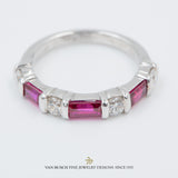 Baguette Ruby and Round Diamond Ring