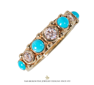 Round Turquoise and Diamond Ring
