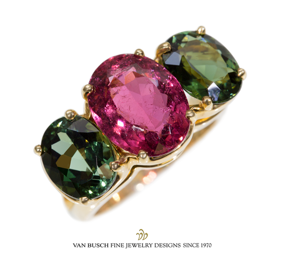 Pink and Green Tourmaline Ring
