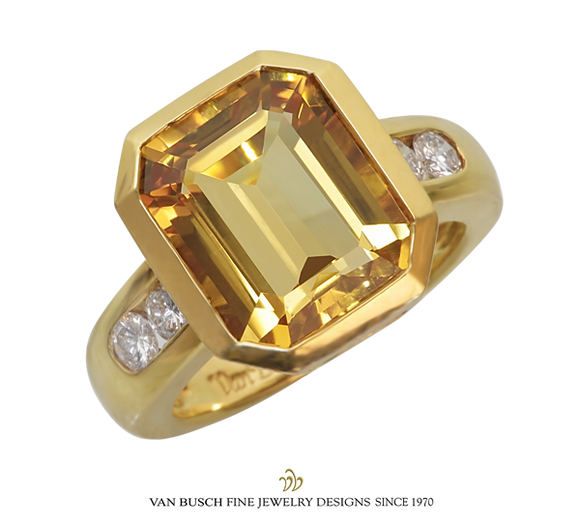 Yellow Citrine and Diamond Ring