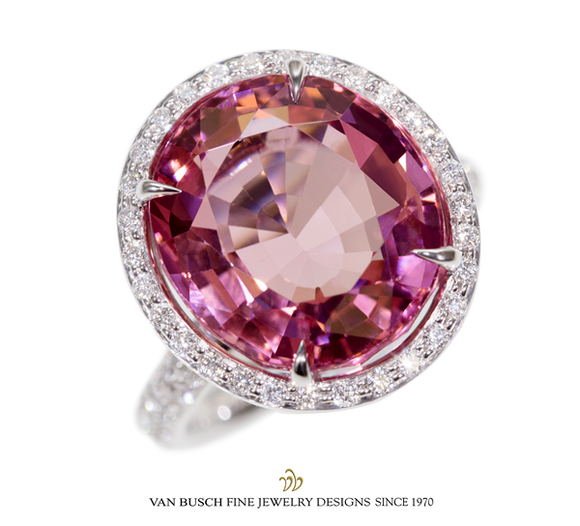 Round Pink Tourmaline and Diamond Ring