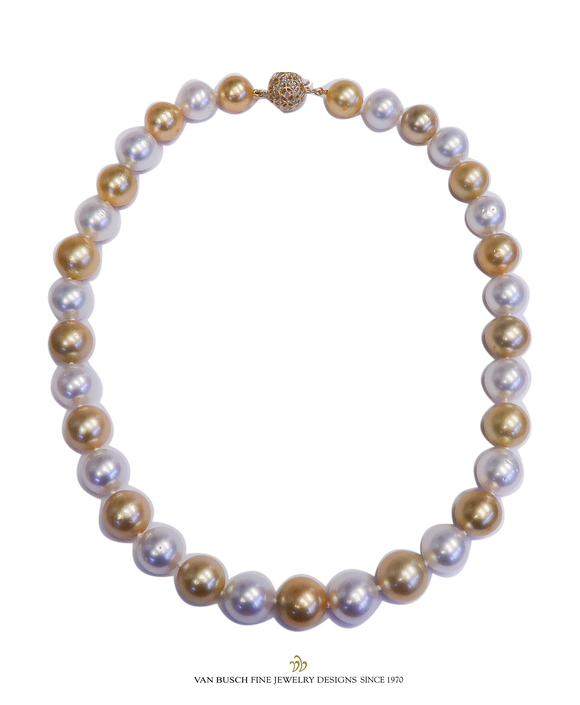 White and Golden South Sea Pearl Necklace