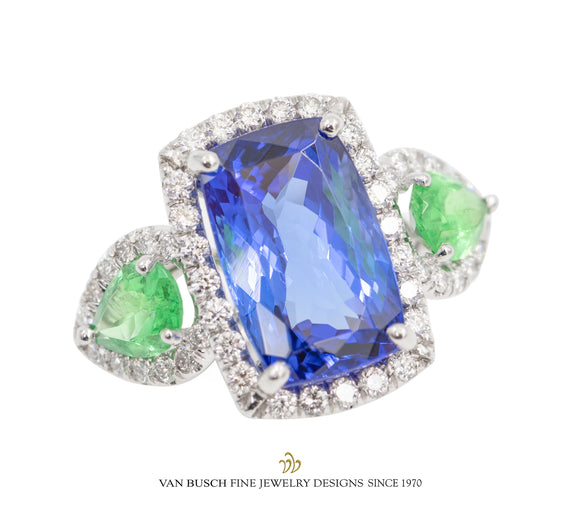 Tanzanite Tsavorite and Diamond Ring