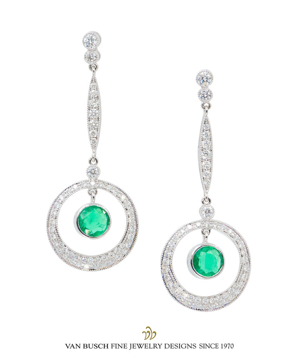Dangling Emerald and Diamond Earrings