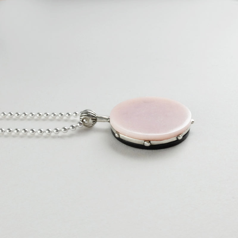 Cronos Necklace In Black Jade & Pink Opal