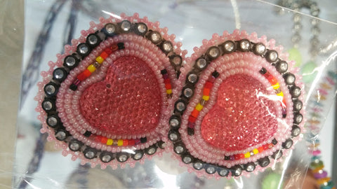 Beaded Heart Earrings pink