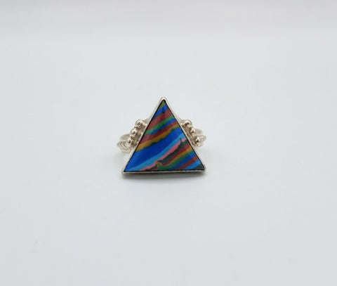 Silver and Rainbow Calcitica Ring | From Albuquerque
