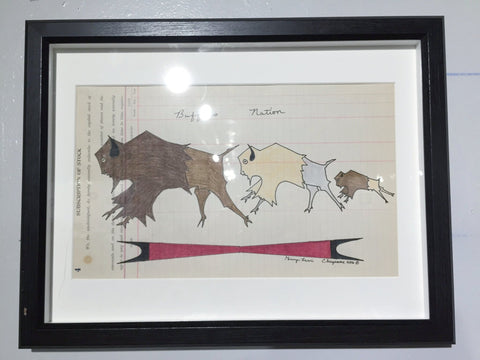 """Buffalo Nation"" - Framed Ledger Art 