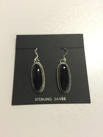 Silver w/ Black Stone Oval Earrings | From Albuquerque