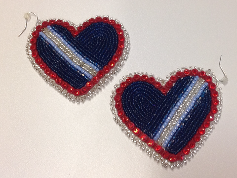 Beaded Heart Earrings striped