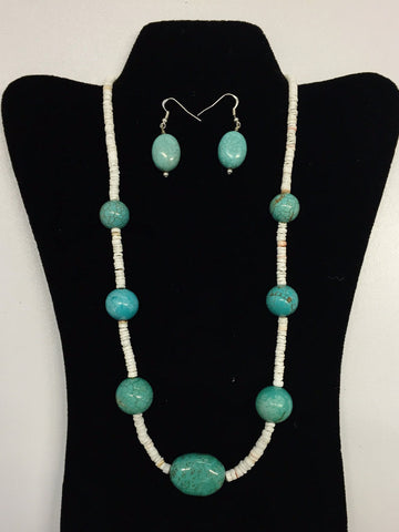Turquoise Beaded Necklace and Earrings - Set | Ms. King