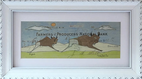 """Buffalo"" - Framed Ledger Art 