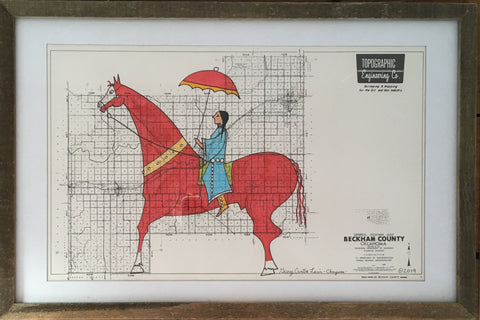 """Beckham County"" - Framed Ledger Art 