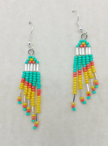 Sea-Green, Orange, and Yellow Beaded Earrings | Annette Stonefish-Kelty