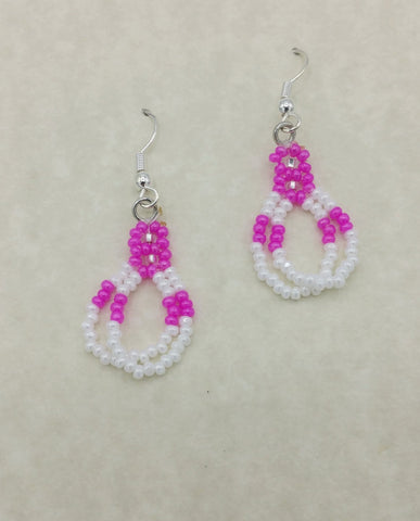 Beaded Pink Double Loop Dangle Earrings | Annette Stonefish-Kelty