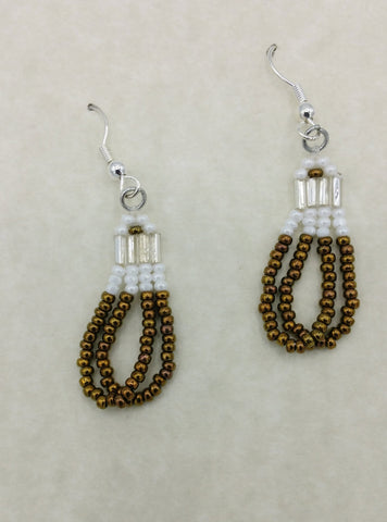 Beaded Brown Dangle Earrings | Annette Stonefish-Kelty