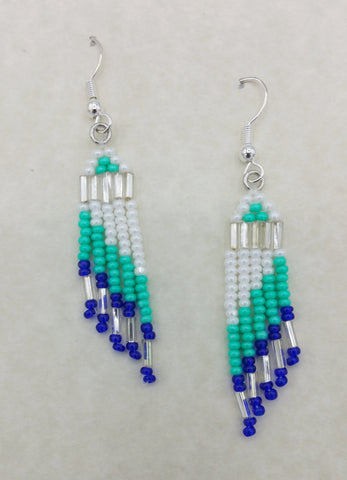 Beaded Blue and Green Dangle Earrings | Annette Stonefish-Kelty