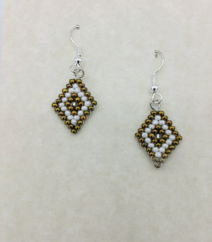 Beaded Brown Diamond Shaped Earrings | Annette Stonefish-Kelty