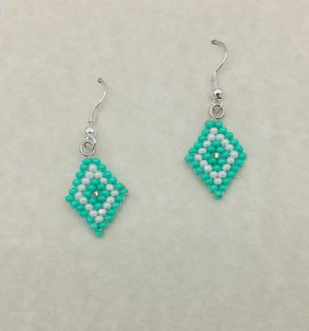 Sea-Green Diamond Shape Beaded Earrings | Annette Stonefish-Kelty
