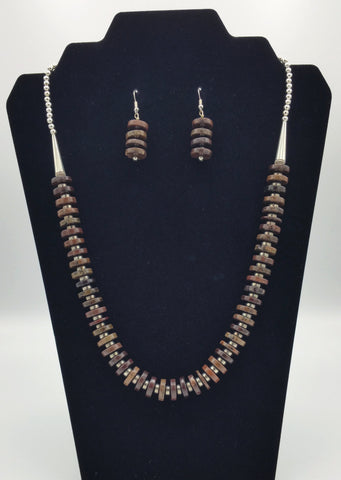 Brown Disc Necklace and Earrings - Set | R. Betsol
