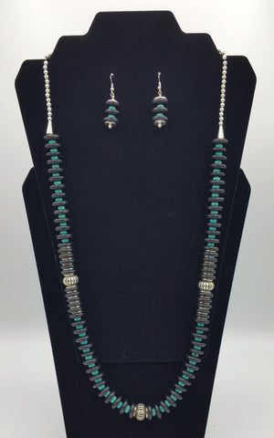 Turquoise Bead and Black Disc Necklace and Earrings - Set | R. Betsol