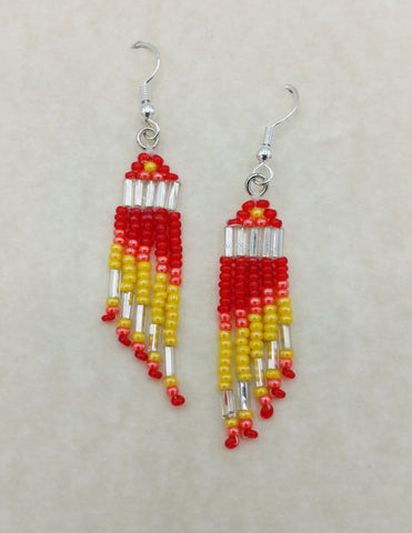 Red and Yellow Beaded Dangle Earrings | Annette Stonefish-Kelty
