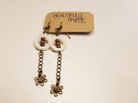 *Brass Daisy Chain and Shell Dangle Earrings | Beautifully Broke