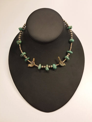 Silver Beads Necklace w/ Turquoise Stones