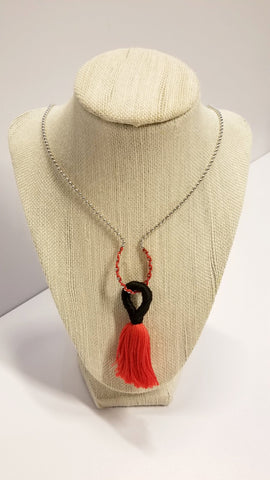 Red and Black Tassel Necklace | Beautifully Broke