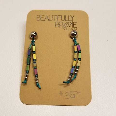 Teal and Peacock Colored Hematite Earrings | Beautifully Broke