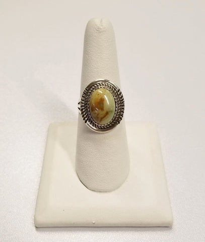 *Gold-Tinted Turquoise Stone and Silver Ring | From Albuquerque