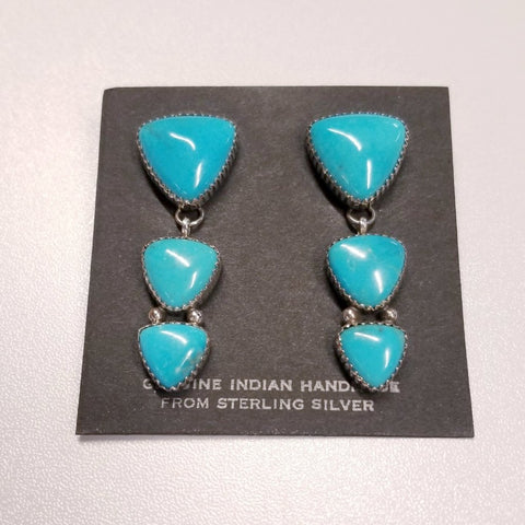 *Triangular Turquoise and Silver Post Earrings | From Albuquerque