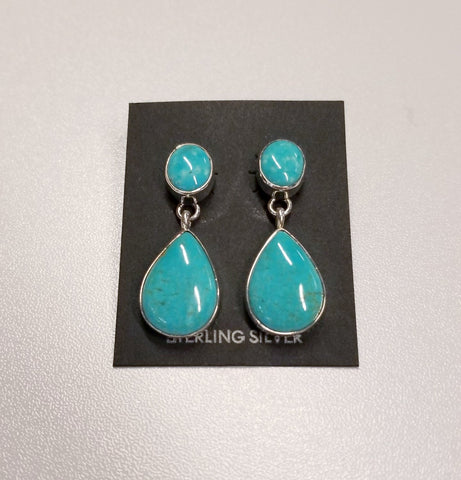 *Dangling Post Turquoise and Silver Earrings | From Albuquerque
