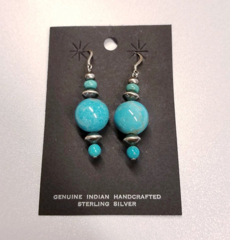 Large Dangle Turquoise and Silver Earrings | From Albuquerque