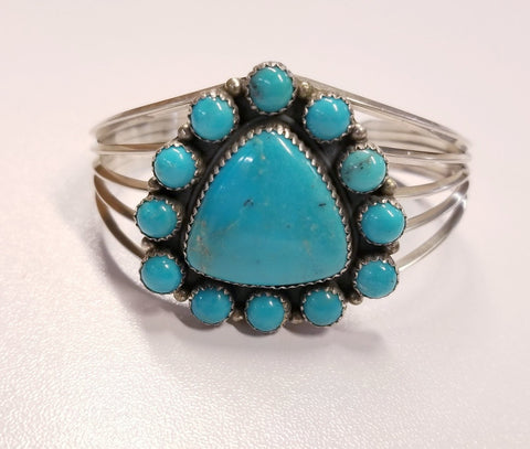 Large Multiple Stone Turquoise and Silver Bracelet | From Albuquerque