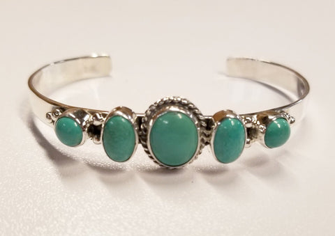 Five Stone Turquoise and Silver Bracelet | From Albuquerque
