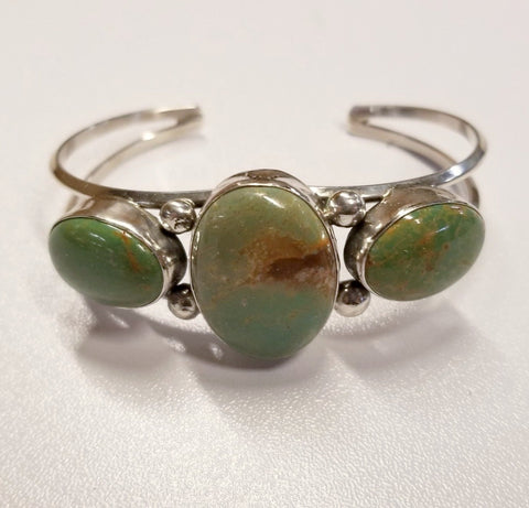 Three Stone Silver and Turquoise Bracelet | From Albuquerque